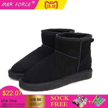 MBR FORCE High-quality Australia Classic  Women Snow Boots 100% Genuine Leather Ankle Boots Warm Winter Boots Woman Shoes