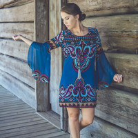 Flutter Sleeved Paisley Dress in Teal