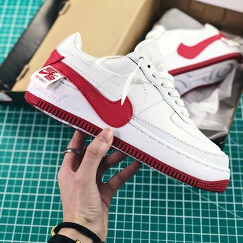 Nike Air Force 1 Jester White University Red Sport Shoes - Sale