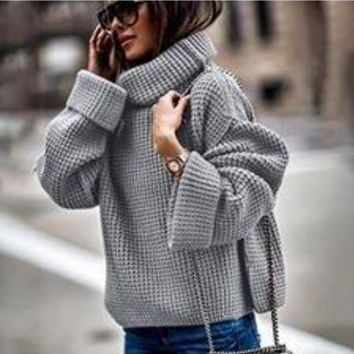 Brylee Chunky Knit Oversized Cuff Pullover Sweater