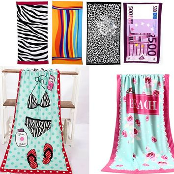 Colorful Stripe Big 70*140cm Hot Sale Water Absorbent Microfiber Bath Beach Towel Fast Drying