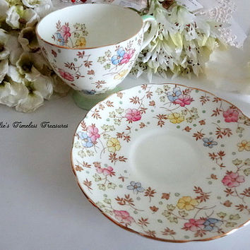 EB Foley Floral Chintz Fine Bone China Tea Cup Saucer Pink Blue Yellow Flower English Antique Tea Cup Saucer Vintage Replacement China V2398
