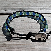 Beaded Leather Wrap Bracelet Elephant Button Green Blue Translucent 6mm Glass Beads Handmade