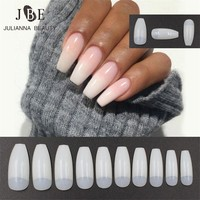 500PCS Professional Fake Nails Long Ballerina Half French Acrylic Nail Tips Square Head False Nails Tips Nature