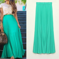 High Quality 2015 New Bohemian Women Chiffon Skirt Female Pleated Long Skirt 7Colors Skirt