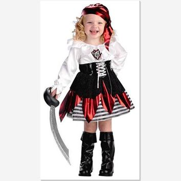 2016 Children Skull Halloween/Christmas Costumes 3-10Y Girls Long Sleeved Fancy Clothes Kids Cute Pirate Cosplay Petal Dress