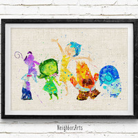 Inside Out Poster, Emotions Disney Watercolor Art Print, Kids Decor, Wall Art, Home Decor, Gift, Not Framed, Buy 2 Get 1 Free!
