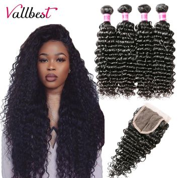 Vallbest Brazilian Deep Wave Bundles With Closure 3 Pieces Human Hair Bundles With Closure Remy Hair Weave Extensions Free Part