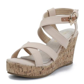 Solid Color Lady Wedge Sandals