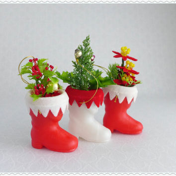 Santa Boot Ornaments, Set of Three, Red White Plastic, Christmas Decor, Holly Tree Poinsettia, Hanging Light Weight, Vintage DIY Crafting