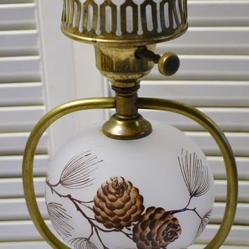 Vintage Table Lamp Frosted Glass Pine Cones Brass Marble Period Lighting PanchosPorch