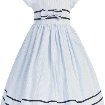 Light Blue Cotton Seersucker Spring Dress with Navy Blue Sash & Trim (Baby, Toddler & Little Girls Sizes)