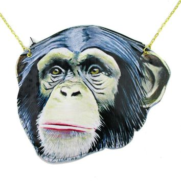 Monkey Chimpanzee Face Shaped Vinyl Animal Themed Cross Body Bag | DOTOLY
