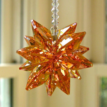 Crystal Sun Catcher - Stella Orange Short, Swarovski Crystal Suncatcher with Dark Topaz Octagons, for Car or Home, 5.5""