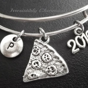 Sale.....Pizza,best friends, BFF 2016 charm bracelet, Stainless Steel Expandable Bangle, monogram personalized item No.676
