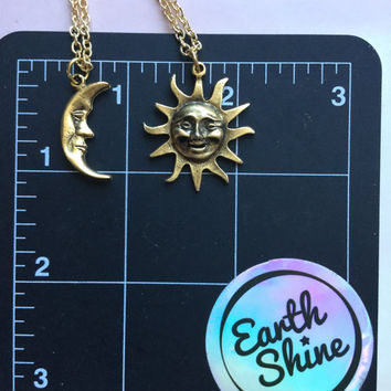 Sun and Moon friendship best friend soul mate necklaces