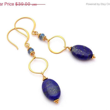 25% OFF STOREWIDE SALE Lapis Lazuli & Crystal Gold Arabesque Earrings - 24K Gold Plated Sterling Silver Drop Earrings
