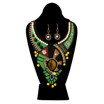 Green and Black Bead Bib Necklace Set with Pearl Detail