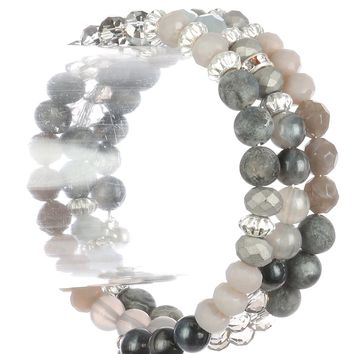 Gray Natural Stone Bead Coil Wire Bracelet
