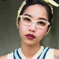 Vintage Cat Eye Frame Eyeglasses 1960's Made In Italy Unique Gold Print