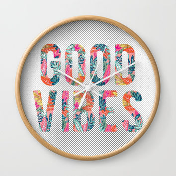 Good Vibes Wall Clock by cadinera