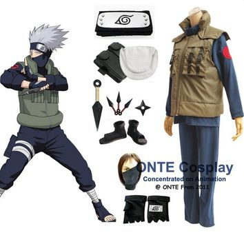 Anime Naruto Cosplay Costumes Shippuden Hatake Kakashi Deluxe Clothes Set with Shoes Weapon for Halloween Party
