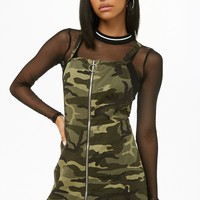 Camo Pinafore Mini Dress