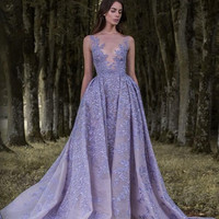 87c509caf3c Lavender Paolo Sebastian 2017 Prom Dresses Full Leaf Applique Dress Sheer  Neck Sleeveless Vintage Long Formal. Gray Appliques Beads Mermaid ...