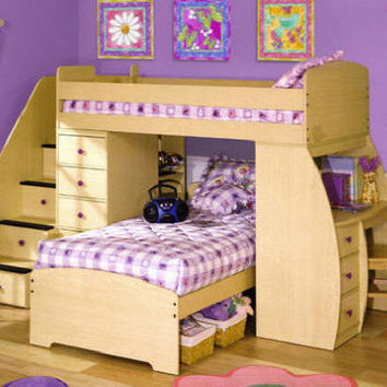 Fontana Upstairs Downstairs Study Loft Bed