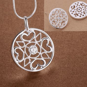 Compass Heart CZ Medallion Sterling Silver Necklace and Earrings Set