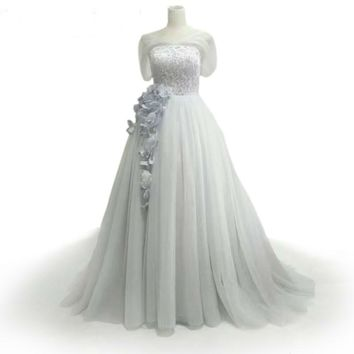 Light Gray Applique Flowers Cheap Long Evening Dresses Sweetheart Tulle Ball Gown Prom Dresses