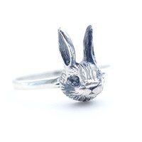 925 sterling silver Cute Rabbit Statement Ring