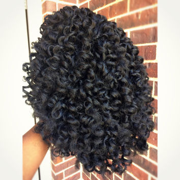 Sale Priced- Handmade Custom Curly Crochet Braid Weave Wig Color 1 and 1B