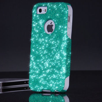 Otterbox iPhone 5/5S Glitter Commuter Wintermint Sparkly Bling Custom Otterbox Cute iPhone 5/5S Case