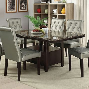 7 pc Arenth collection espresso finish wood faux marble top dining table set with tufted chairs