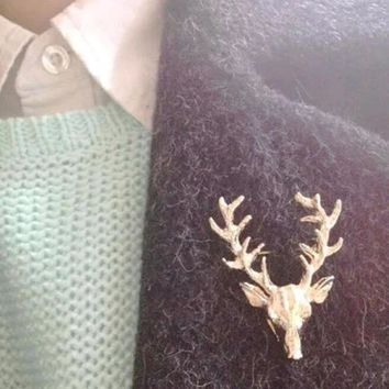 FAMSHIN Hot 1 pcs Hot Unisex Animal Christmas Xmas Popular Cute Gold Deer Antlers Head Pin Brooches Styling Jewelry