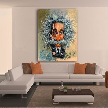 Canvas Wall Art: Comic Albert Einstein Wall Art on Canvas