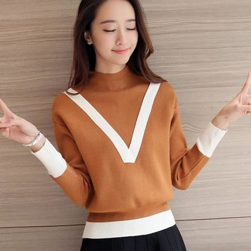 Half downneck female set head V 2016 new winter sweater color loose sweater thick backing