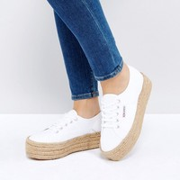 Superga 2790 Espadrille Flatform Trainers In White at asos.com