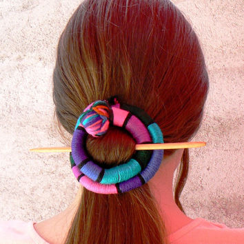 Hair stick Shawl brooch Purple Pink Turquoise Barrette Fascinator