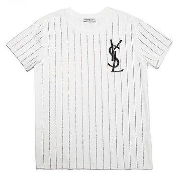 YSL 2019 new embroidered letter print hot diamond stripe bottoming T-shirt white