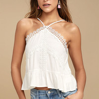 Always Together White Lace Crop Top