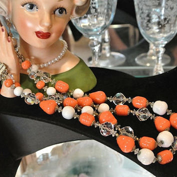 Vendome Coro Necklace Choker 1950s 50s Mid Century Double Strand Art Glass Milk Glass Rhinestone Necklace French Fashion Style by Coro