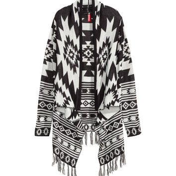 H&M - Jacquard-knit Cardigan - Black/White patterned - Ladies