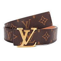 LV fashionable and popular casual men and women printed leather belt belt