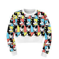 Mickey Print Top Crop Sweatshirt