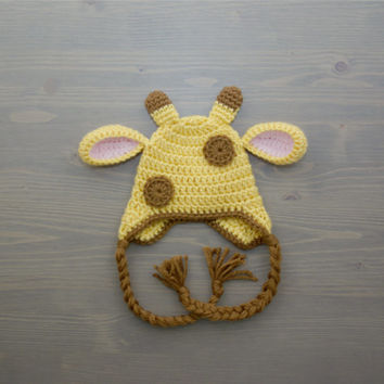 Crochet Giraffe Hat, Crochet Baby Hat, Newborn Photo Prop, Crocheted Baby Hat, Baby Shower Gift, Baby Giraffe Hat, Crochet Animal Hat