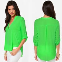 V-Neck Roll-up Chiffon Blouse with Collar
