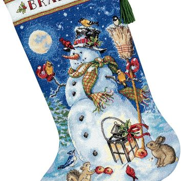 """Snowman & Friends Stocking (18 Count) Dimensions Gold Collection Counted Cross Stitch Kit 16"""" Long"""