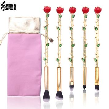 Promotion!!Beauty and the Beast Rose Makeup Brushes Set Cosmetic Brush Eyeshadow Eyebrow Foundation Brush Soft Synthetic Hair